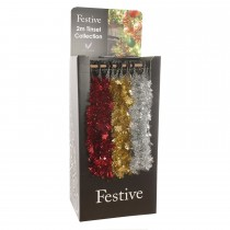 Festive Snowflake Tinsel 2m, Red/Gold/Silver