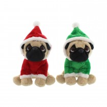 Festive Pug In Santa Suit Decoration, Red/Green