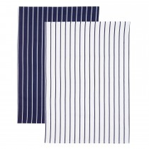 2 Pack Blue Stripe Tea Towels, Navy/White