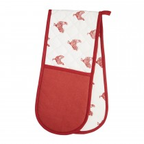 Hen Double Oven Glove, Red