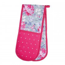 Flower Double Oven Glove, Pink/Grey