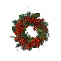Decorated Wreath With Berries, Green
