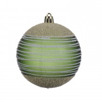Shatter proof Bauble with glitter, Pine Green
