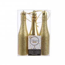 Gold Bottle Hanging Decoration, Light Gold. 3 assorted