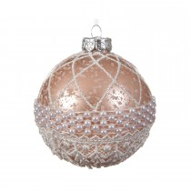 Antique Style Bauble with Pearl, Blush Pink