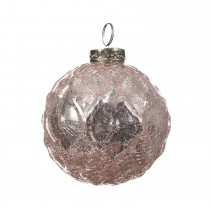 Gloss Embossed Bauble - Crackle, Blush Pink
