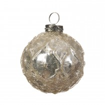 Gloss Embossed Bauble  - Crackle, Pearl