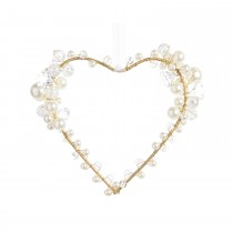 Iron Heart Hanger With Beads, Gold