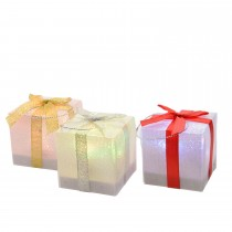 LED Gift Box With Bow, Silver Gold Red