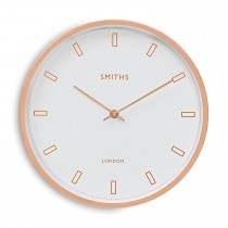 Brookpace Lascelles Rose Gold Wall Clock, White/rosegold