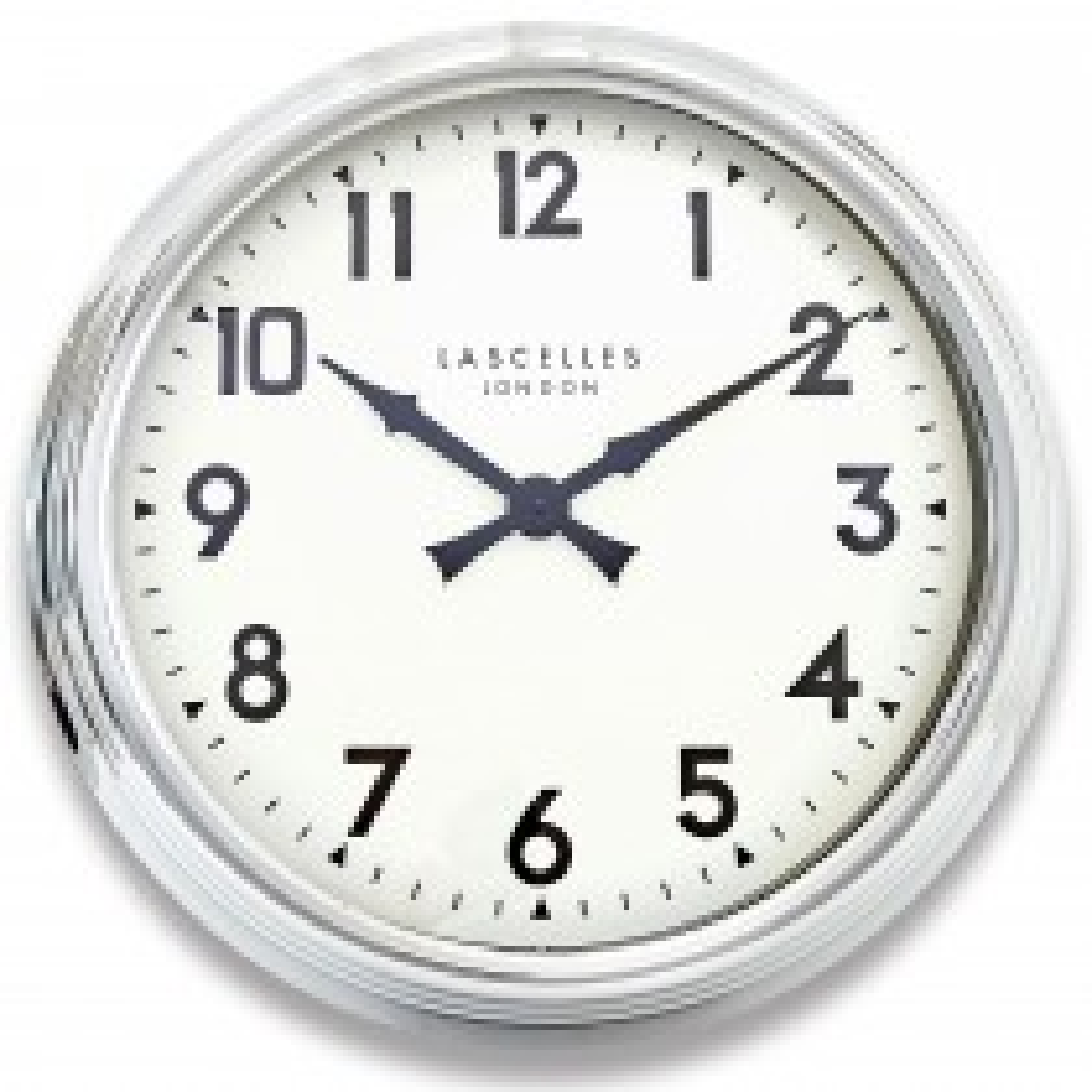 Brookpace Lascelles Large Chrome Wall Clock, Chrome