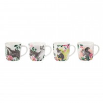 Cath Kidston Set Of 4 Audrey Mugs, Badgers And Friends Print