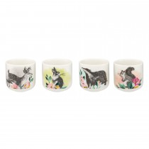 Cath Kidston Set Of Four Egg Cups, Badgers And Friends Print