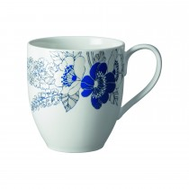 Denby Monsoon Fleur Large Mug, White/blue