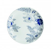 Denby Monsoon Fleur Medium Plate, White/blue