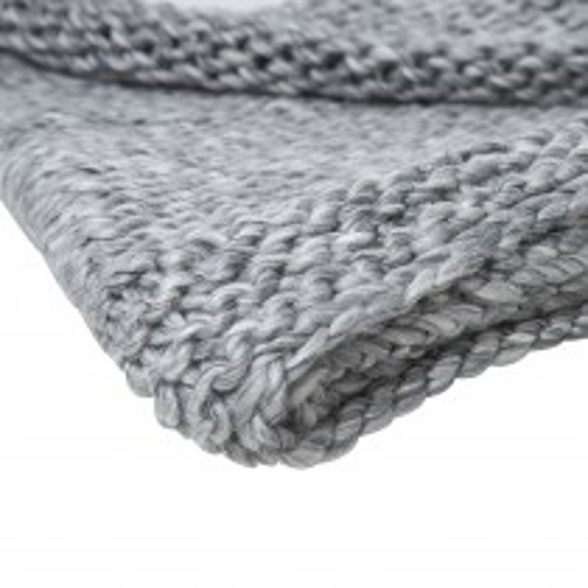 Casa Herring Bone Knit Throw, Grey Melange
