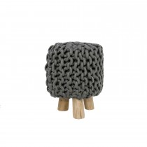 Casa Wooden Knitted Wool Stool, Grey Melange