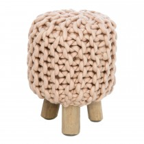 Casa Wooden Wool Stool, Pink