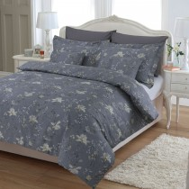 Fast Tex Blossom And Bird Duvet Set Double, Grey