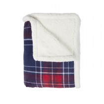 Mistral Tartan Christmas Sherpa Throw 130x170, Red and Blue