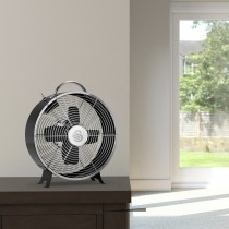 "Swan 8"" Retro Clock Fan, Black"