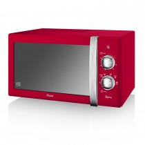 Swan 800w Manual Microwave, Red