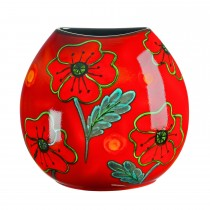 Poole Pottery Poppyfield Purse Vase 26cm, Red