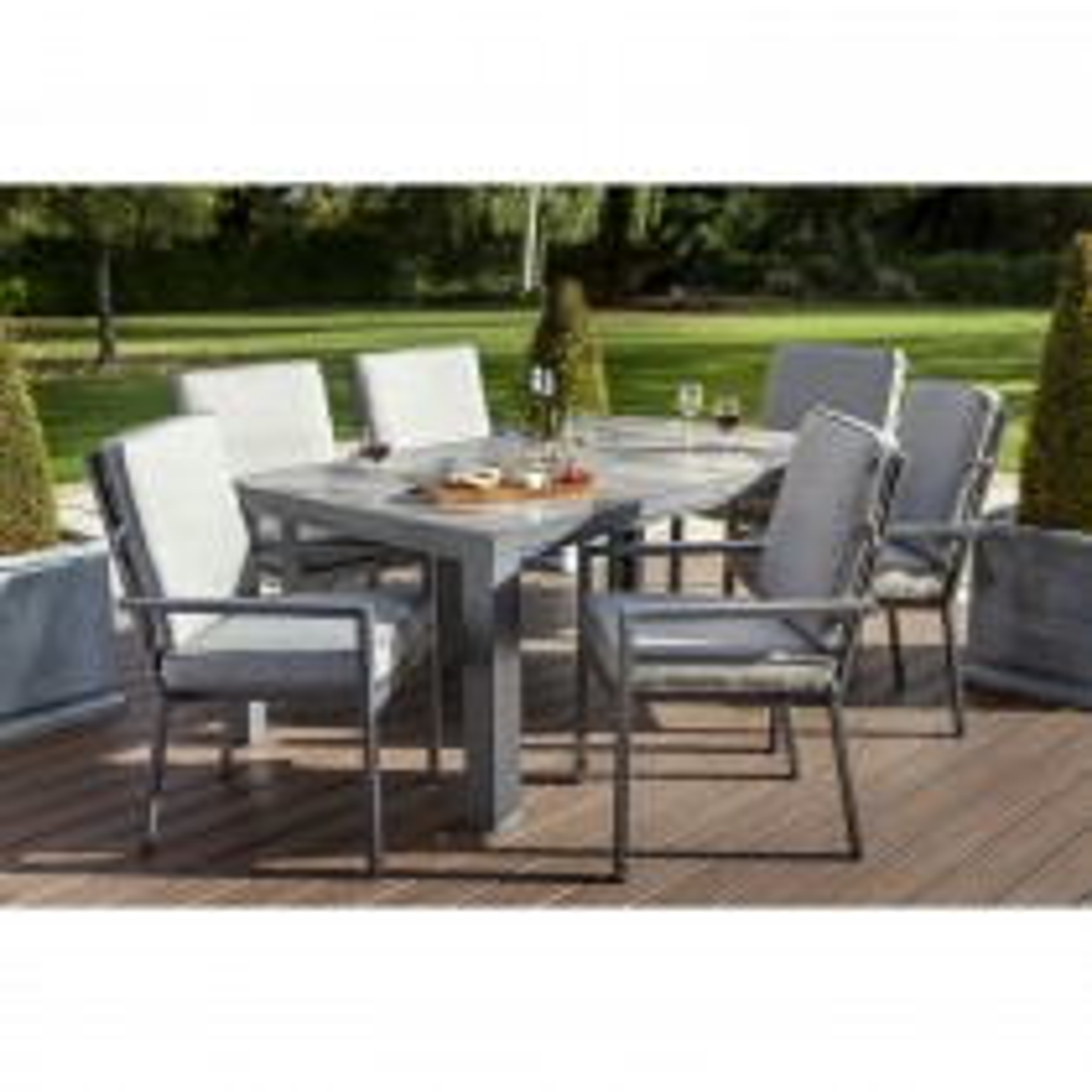 Hartman Titan Outdoor Dining Set, 6 Seater, Seal/Pewter
