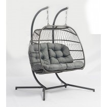 Innovators Eleanor Double Hanging Cocoon Rattan Garden Chair, Grey