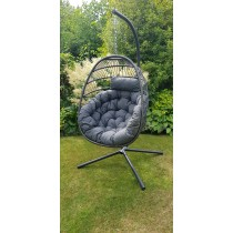 Innovators Eleanor Single Hanging Cocoon Rattan Garden Chair, Grey