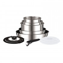 Tefal Ingenio Stainless Steel 13 Piece Set, Silver