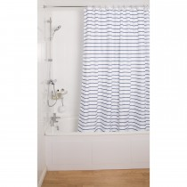 Croydex Pinstripe Shower Curtain, Navy/White