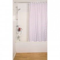 Croydex Pinstripe Shower Curtain, Plumb / White
