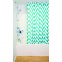 Croydex Chevron Shower Curtain, Aqua / White