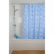 Croydex Geo Mosaic Shower Curtain, Blue