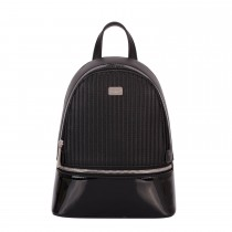 David Jones Patent Trim Back Pack, Black