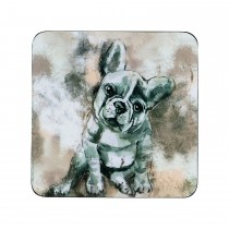 Denby French Bulldog Coasters, Cream