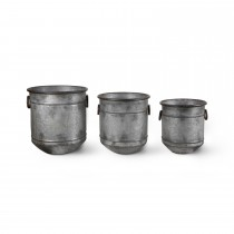 Garden Trading Set Of 3 Malmesbury Planters, Galvanised Steel