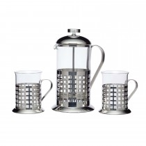 Kitchencraft Le Xpress Cafetiere & 2 Cup Set, Stainless Steel
