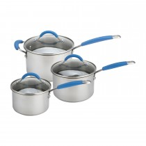 Joe Wicks 3 Piece Saucepan Set, Silver