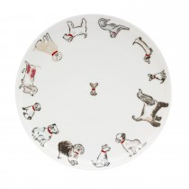 Cath Kidston Squiggle Dogs Dinner Plate, Off White