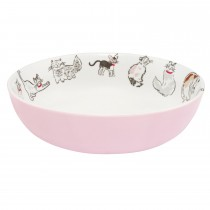 Cath Kidston Squiggle Cats Pasta Bowl, Off White