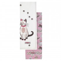 Cath Kidston Squiggle Cats Set of 2 Tea Towels, Off White