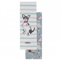 Cath Kidston Squiggle Dogs Set of 2 Tea Towels, Off White