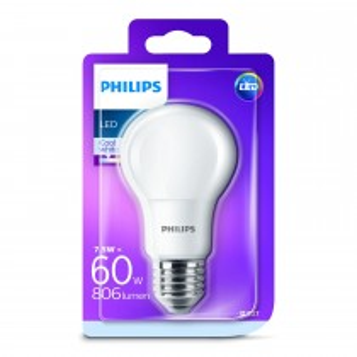 Phillips 60w A60 Classic LED E27 Light Bulb, Cool White