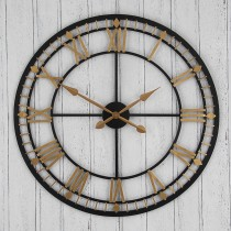 Pacific Lifestyle Antique Metal Round Wall Clock, Bronze & Gold