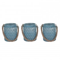 Pacific Lifestyle Glass & Rope Set of 3 Round Hurricanes, Blue