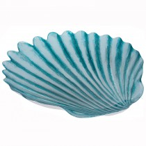 Pacific Lifestyle Glass Shell Design Centrepiece, Turquoise & Silver