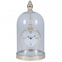 Pacific Lifestyle Gold Metal Glass Clock Cloche, Gold