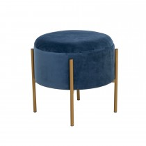 Casa Round Velvet Storage Stool, Purple